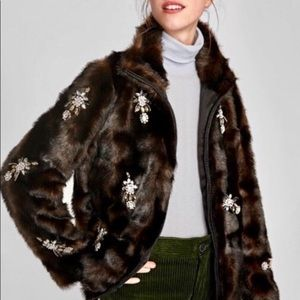 Zara Bejeweled Fur Jacket